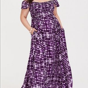 Purple White Tye Dye Dress By Torrid